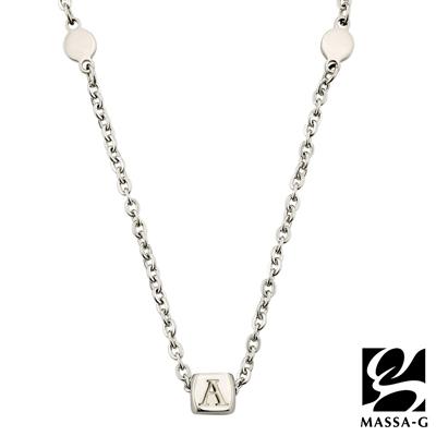 MASSA-G 字言字語金屬鍺錠白鋼項鍊-A~M