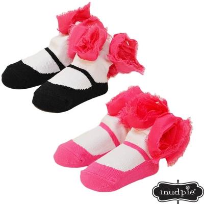 Mud Pie 桃紅玫瑰嬰兒襪二入組