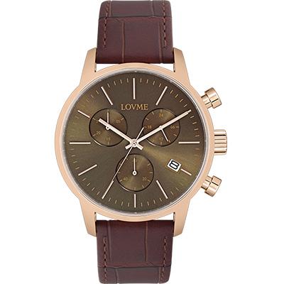 LOVME 城市獵人個性時尚手錶-IP玫x灰/43mm