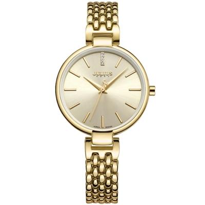 JULIUS聚利時 韶光小禮服不鏽鋼錶帶腕錶-金色/32mm