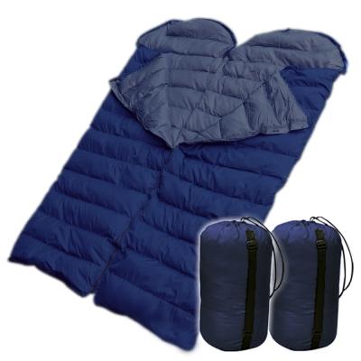 保暖質輕四季型100%天然水鳥羽毛雙人睡袋 登山露營睡袋(兩件可雙拼)