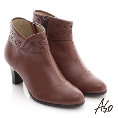 A.S.O 奈米系列 全真皮側V雕花奈米短靴 紅咖