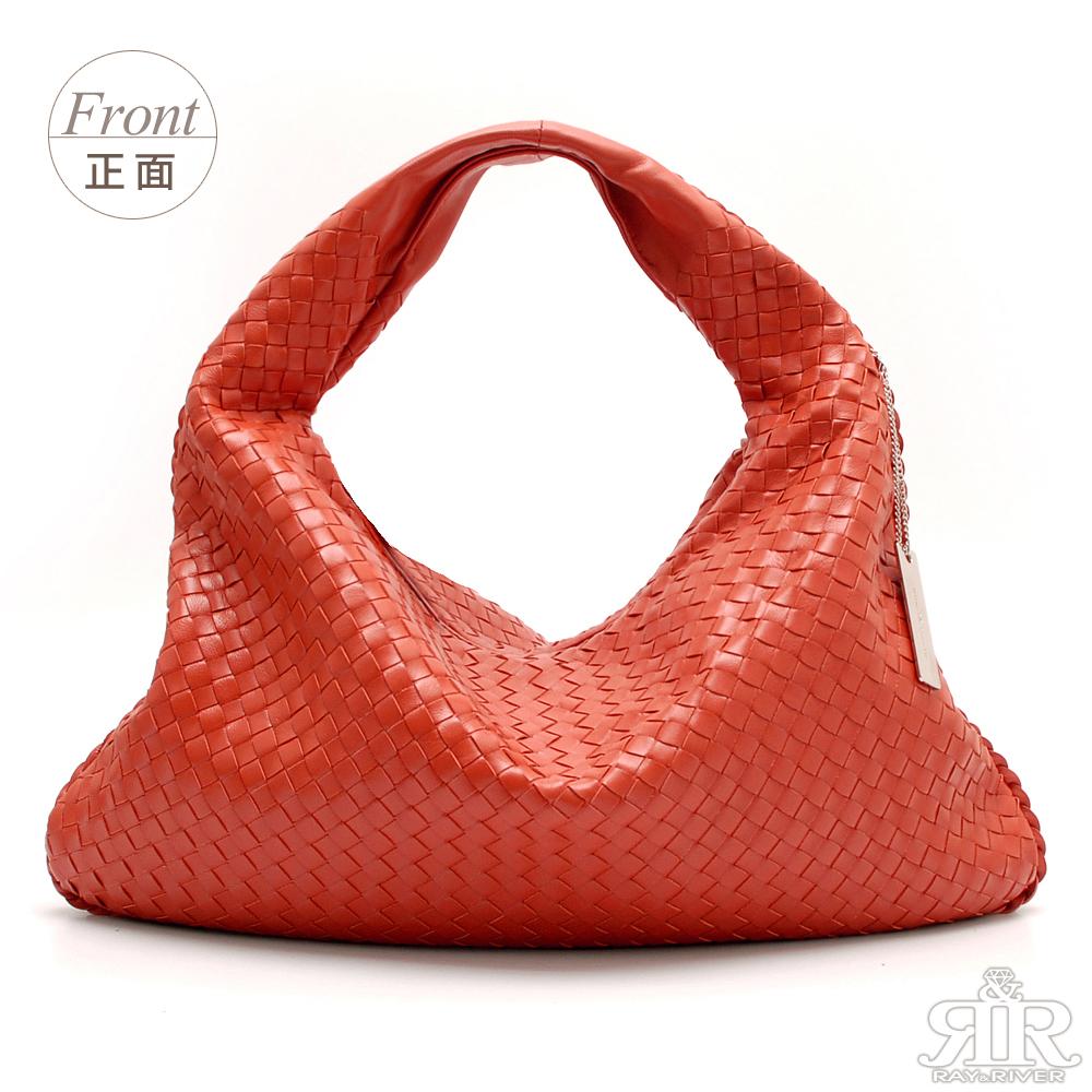 【2R】頂級訂製NAPPA羊皮手工梭織彎月包(甜橘紅)