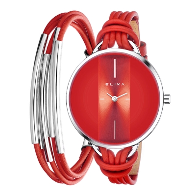 ELIXA Finesse精巧時間皮繩系列X手環組合 紅色38mm