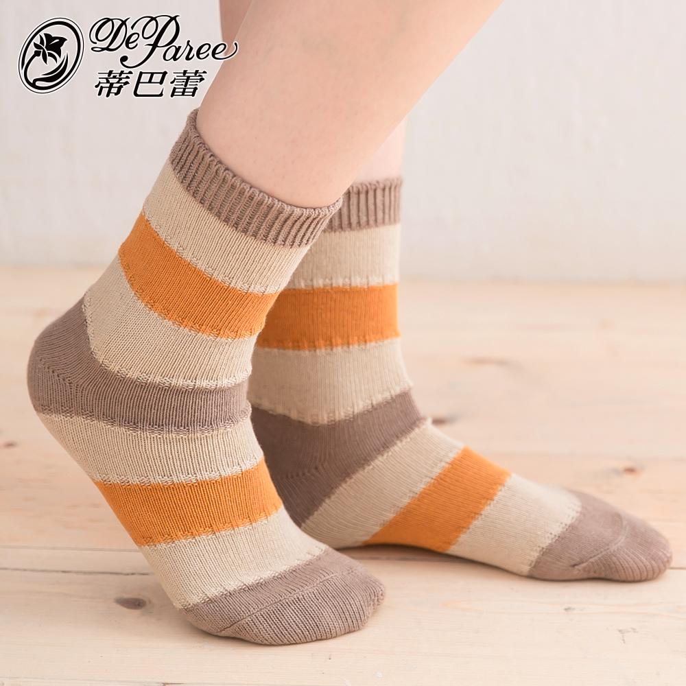 蒂巴蕾 流行女棉襪-橫條拼接