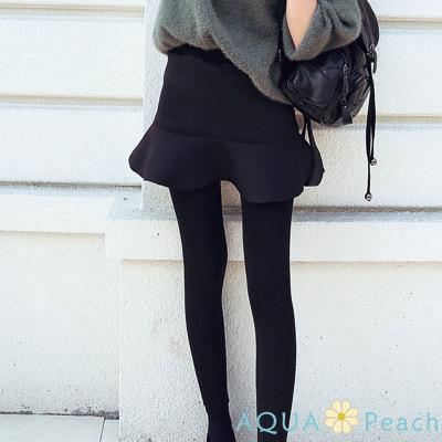純色假兩件太空棉魚尾裙褲-共三色-AQUA-Peach