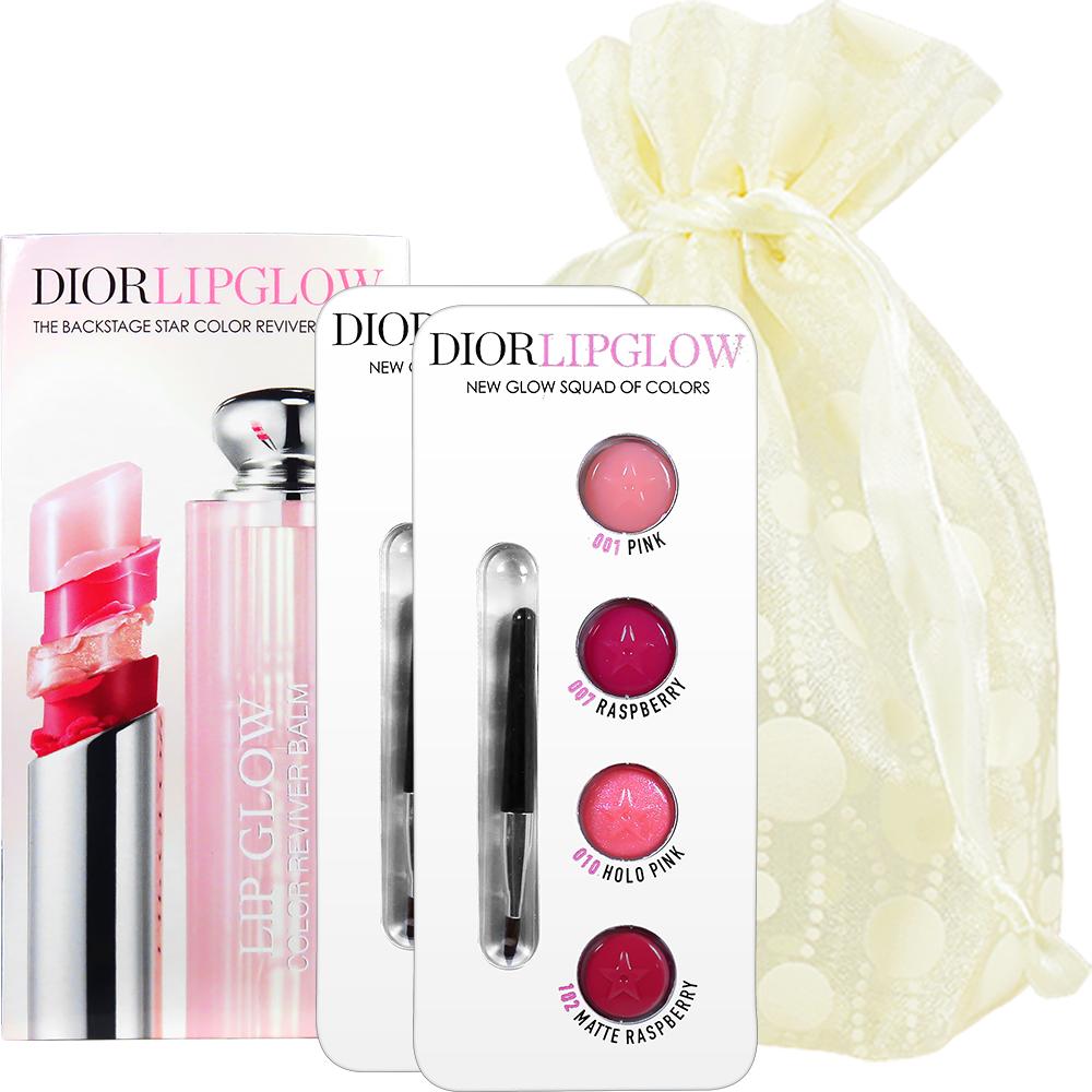 Dior 迪奧 癮誘粉漾潤唇膏四色試用卡4*0.3g-2入旅行袋組