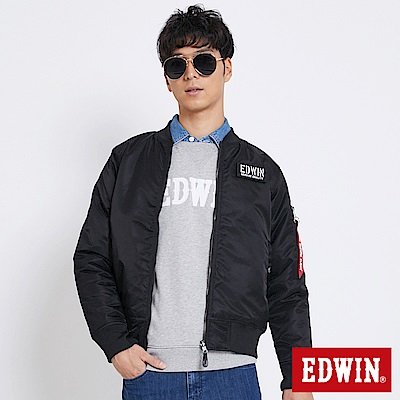 EDWIN 冒險旅行MA1雙面穿反光舖棉外套-男-黑色