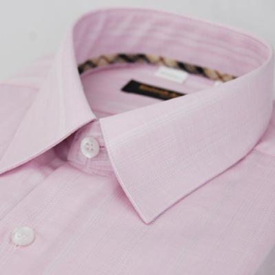 金‧安德森 經典格紋繞領粉色暗紋長袖襯衫fast