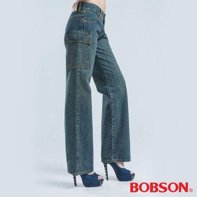 BOBSON 超低腰?邊貼口袋褲-淺藍