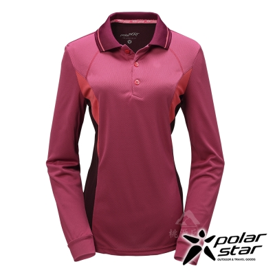 PolarStar 女 吸排長袖圓領衫│機能衣『桃紅』P17216