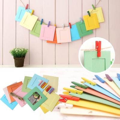 韓國3吋彩色 紙相框木夾麻繩組10入/組-懸掛式ZAKKA風格 創意 照片 相片牆