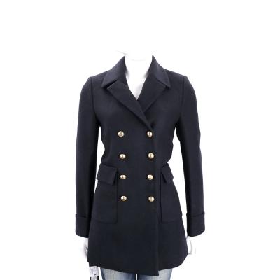 PINKO 深藍色金排釦雙口袋羊毛外套(79%WOOL)