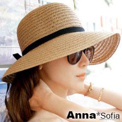【滿額再75折】AnnaSofia 緞帶黑結 寬簷遮陽淑女帽草帽漁夫帽(駝系)