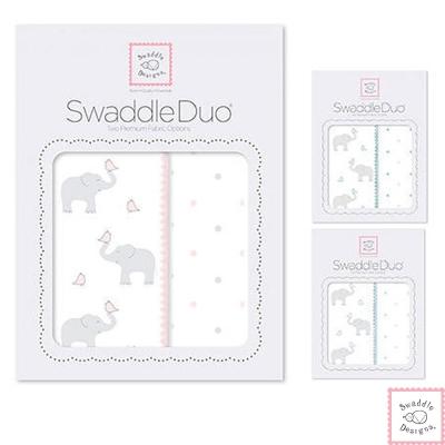 Swaddle Designs 法蘭棉絨及薄棉羅紗嬰兒包巾2入禮盒-大象點點