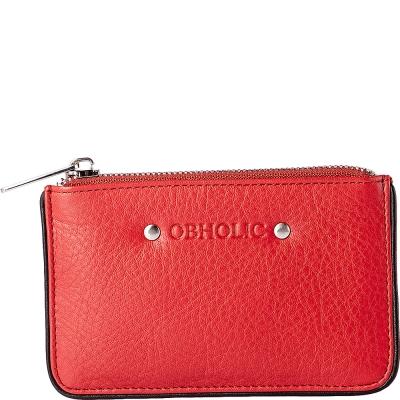 OBHOLIC 義大利軟牛皮革 跳色邊條設計 零錢包 鑰匙包 (紅黑)