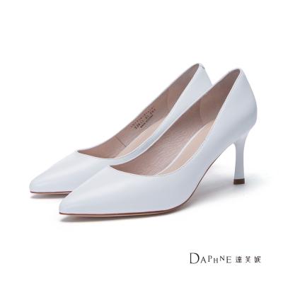 達芙妮DAPHNE 高跟鞋-小羊皮素面尖頭鞋-白