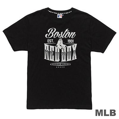 MLB-波士頓紅襪隊金屬質感印花T恤-黑 (男)