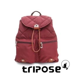 tripose 限量暖款-英倫時尚菱格尼龍後背包-(大) 暖酒紅