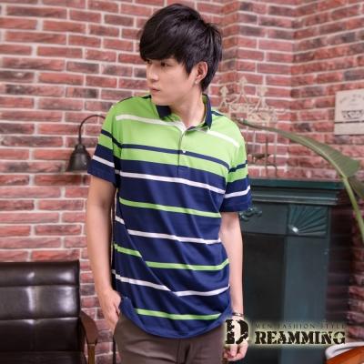 Dreamming  亮彩配色條紋休閒棉質短POLO衫-共三色