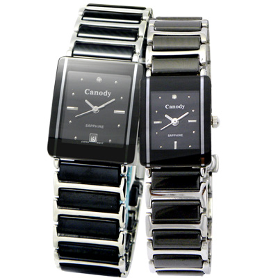 Canody 珍愛時光陶瓷對錶-黑