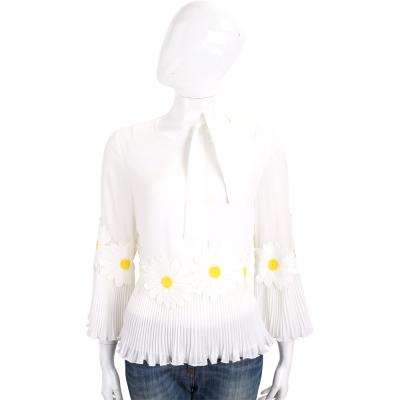 EDWARD ACHOUR PARIS 白色織花拼接百摺設計上衣