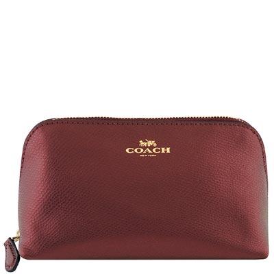 COACH-酒紅色金屬光澤皮革化妝包