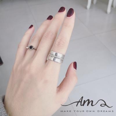 AM輕飾品 寬版線條純銀戒指 開口戒 活圍戒