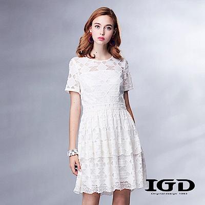 IGD英格麗浪漫純白刺繡蕾絲洋裝-白色