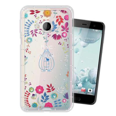 WT HTC U Play 5.2吋 奧地利水晶彩繪空壓手機殼(鳥羽花萃)