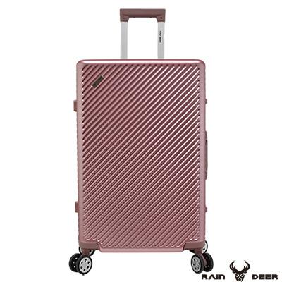 RAIN DEER 時尚斜紋 20 吋PC+ABS鋁框行李箱-玫瑰金