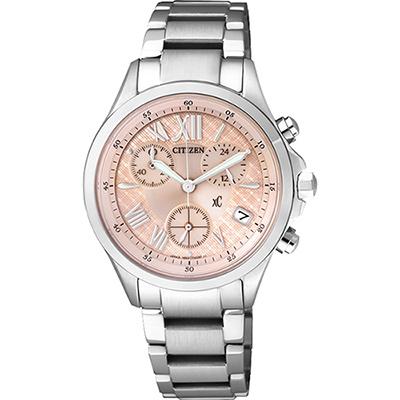 CITIZEN xC 光動能羅馬戀人計時腕錶(FB1400-51W)-粉橘/32mm
