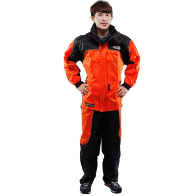 [快]天龍牌 新重裝上陣F1機車型風雨衣-橘黑+通用鞋套