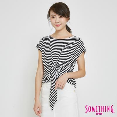 SOMETHING 造型綁結條紋T恤-女-黑色