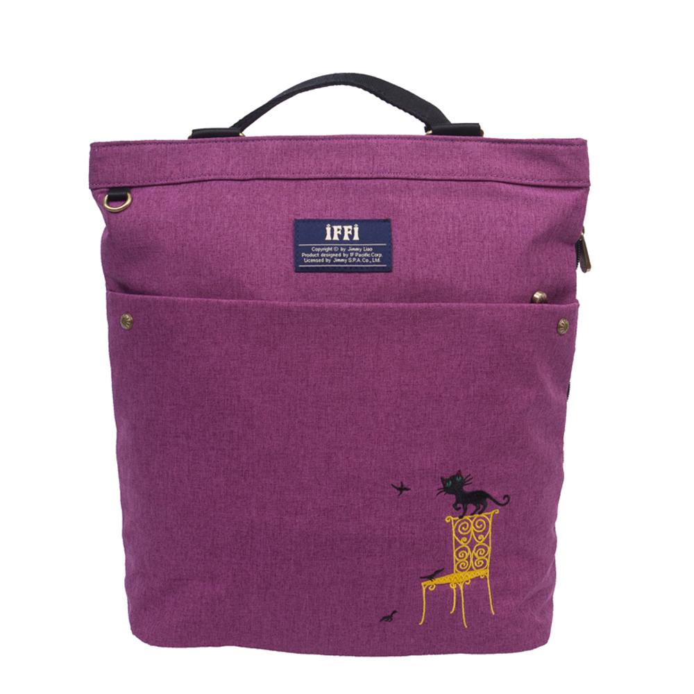 IFFIx幾米-肩背包-刺繡貓-紫