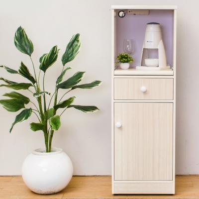 Birdie南亞塑鋼-1.4尺單門單抽塑鋼電器櫃/收納餐櫃(白橡)-44x41x131cm
