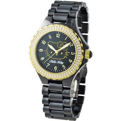 HELLO KITTY凱蒂貓優質晶鑽陶瓷腕錶 黑/金/38mm
