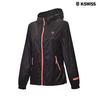 K-Swiss Side Zip Windbreaker抗UV風衣外套-女-黑