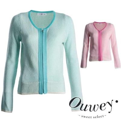 OUWEY歐薇-配色滾邊針織外套-水-粉