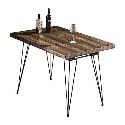 AT HOME-工業風設計4尺實木鋼筋鐵藝餐桌(119*79*77cm)貝德
