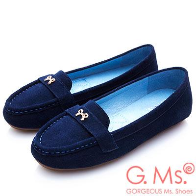 G.Ms. 牛麂皮小金蝴蝶結莫卡辛鞋-寶藍