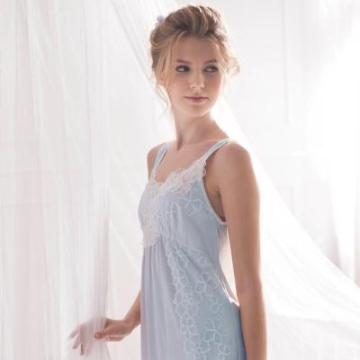 羅絲美睡衣 - 花仙子細肩長版洋裝睡衣 (優雅藍)