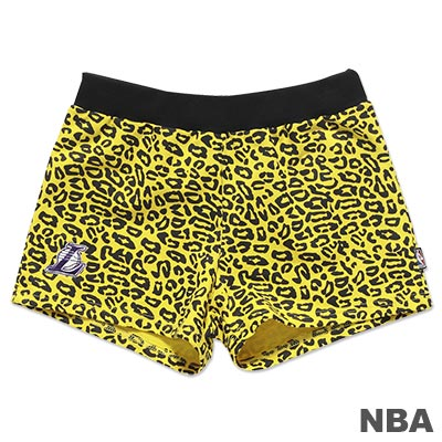 NBA-洛杉磯湖人隊豹紋迷你短褲-黃(女)