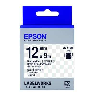 EPSON C53S654408 LK~4TBN透明系列透明底黑字標籤帶 寬度12mm