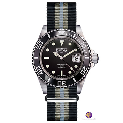 DAVOSA Black Ternos DLC金剛石黑碳陶瓷200米潛水彩色帆布-40mm