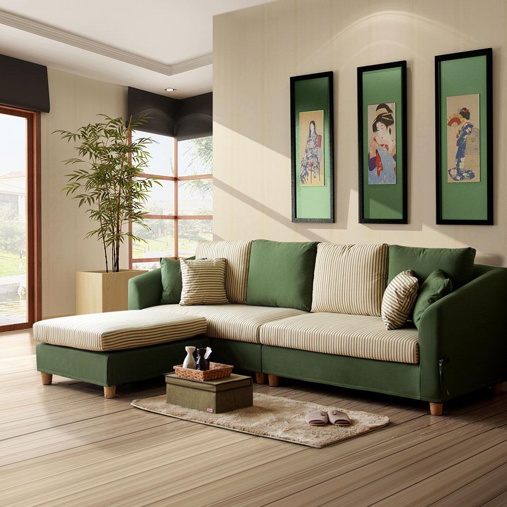 YKSHOUSE-綠野L型布沙發-獨立筒版
