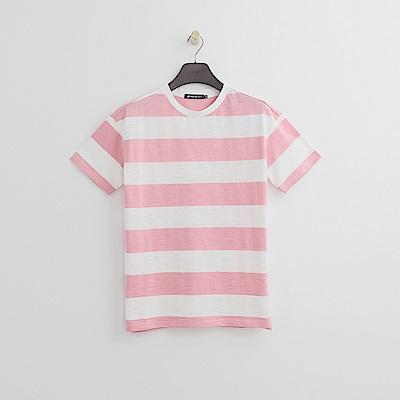 Hang Ten - 女裝 - 條紋寬版T恤-粉紅色