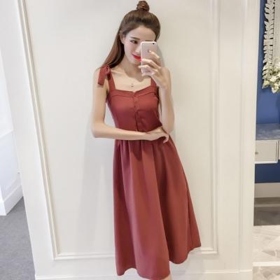 La Belleza雙肩綁帶吊帶鬆緊胸圍排釦背心裙洋裝