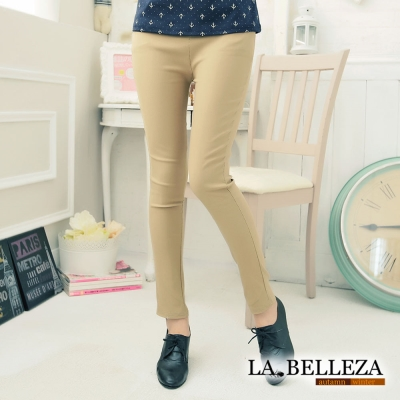 La Belleza顯瘦側口袋腰鬆緊腰挺版修飾窄管褲(卡其,寶藍)