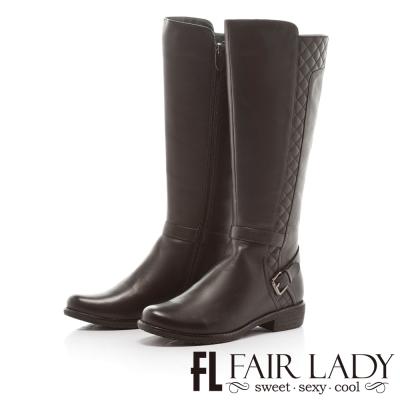 Fair Lady 法式氛圍菱格紋長筒靴 黑